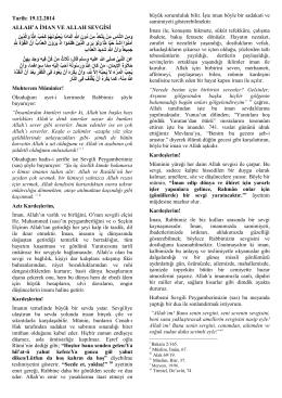 19.12.2014 Tarihli Hutbe Değişikliği
