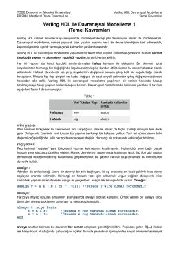 Verilog HDL ile Davranışsal Modelleme 1 (Temel Kavramlar)