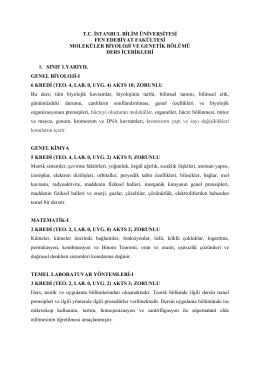 Moleküler Biyoloji ve Genetik - İstanbul Bilim Üniversitesi