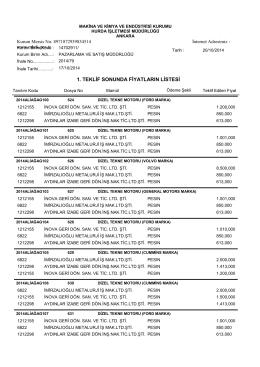 17/10/2014 dizel tekne motorları teklif sonuçları