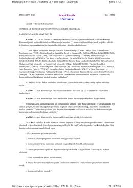 Resmî Gazete Sayfa 1 / 2 Başbakanlık Mevzuatı Geliştirme ve Yayın