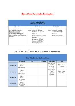 Hücre Doku Dersi Hafta İçi Grupları MAVİ-1 GRUP HÜCRE