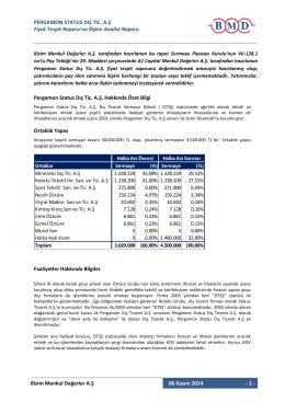 Fiyat Tespit Raporuna İlişkin Analist Raporu