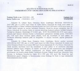 Eskişehir - Çifteler - Osmaniye Köyü Çatalboğazı Mevkiindeki