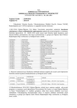 24.09.2014 Tarihli Yönetim Kurulu Kararı
