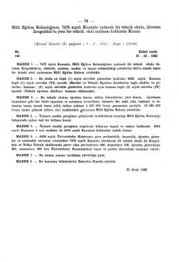Millî Eğitim Bakanlığınca, 7475 sayılı Kanunla açılacak iki teknik
