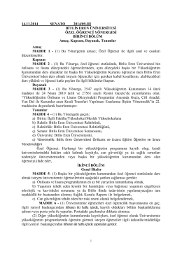 14.11.2014 SENATO 2014/09-III BİTLİS EREN ÜNİVERSİTESİ ÖZEL