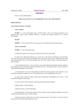 Resmî Gazete - Orman Genel Müdürlüğü