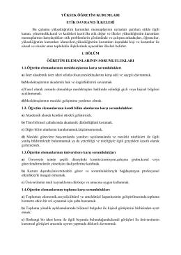 yüksek öğretim kurulu etik davranış ilkeleri