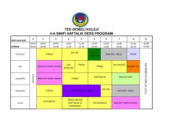 ted denizli koleji 4-a sınıfı haftalık ders programı