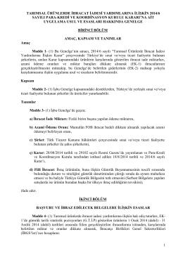 2014/6 Uygulama Usul ve Esasları