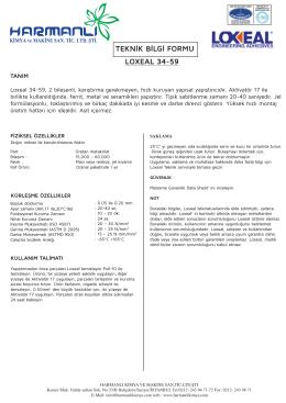 LOXEAL 34-59 TEKNİK BİLGİ FORMU