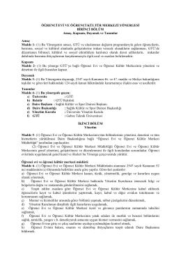 Öğrenci Evi ve Öğrenci Kültür Merkezi Yönergesi