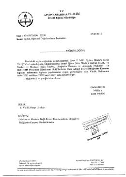 Müdürlüğümüzün konu ile ilgili 07/01/2015 tarih ve 123590 sayılı