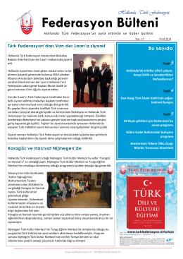 Ocak 2014 - Hollanda Türk Federasyon