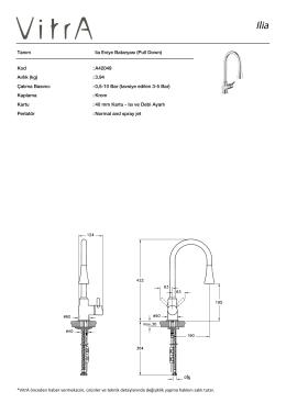 Tanım lia Eviye Bataryası (Pull Down) Kod :A42049 Aırlık (kg