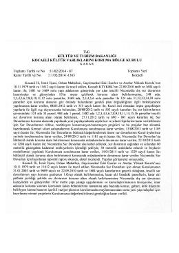 Orhan Mah. taşınmazın Tesciline ilişkin 11.02.2014 tarih ve 1363