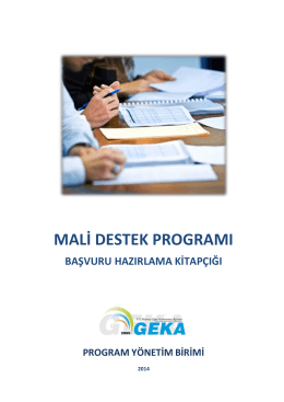 mali destek programı başvuru hazırlama kitapçığı program
