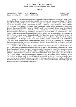 Kayseri Develi I.Derece Arkolojik Sit Alanındaki Yukarı Fenese Kaya
