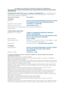 Ç.Ü. Kozan MYO Çevre Çiti Yapımı, Tadilat ve Onarım İşi