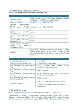 Borçlanma Aracı İhracına İlişkin YK Kararı, 5 Haziran 2014