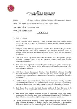 İl Genel Meclisinin 2014 Yılı Ağustos A