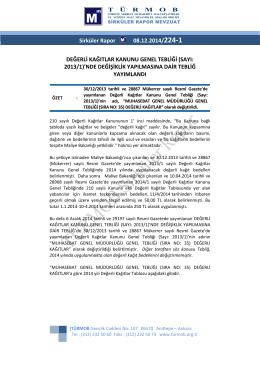 Değerli Kağıtlar Kanunu Genel Tebliği (Sayı: 2013/1)