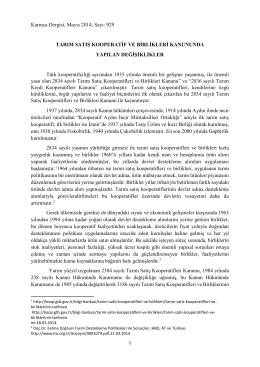 Tarım Satış Kooperatif ve Birlikleri Kanununda Yapılan Değişiklikler