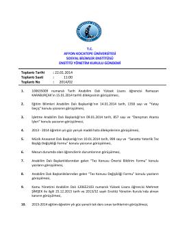 22.01.2014 Tarih ve 2014-02 Sayılı Karar