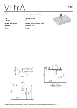 Tanım NUO Lavabo, 60 cm Beyaz Kod :4432B003-0001 Aırlık
