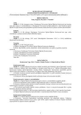 Eğitim Öğretim Komisyonu Yönergesi