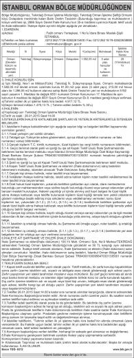 İstanbul Orman Bölge Müdürlüğünden İhale İlanı