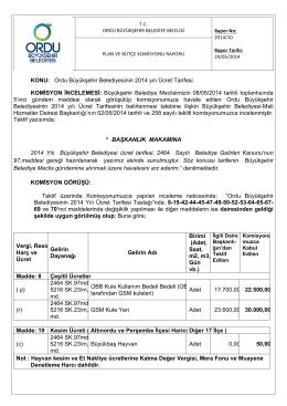 10. komisyon raporu - Ordu Büyükşehir Belediyesi
