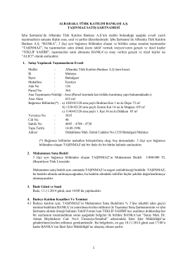 1 ALBARAKA TÜRK KATILIM BANKASI A.Ş. TAŞINMAZ SATIŞ