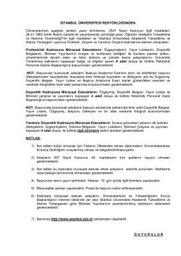 17.09.2014 – Sabah Gazetesi Öğretim Üyesi İlanı yayımlanmıştır.