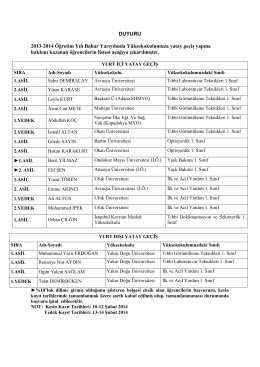 DUYURU 2013-2014 Öğretim Yılı Bahar Yarıyılında