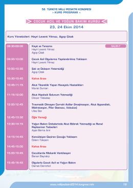 23, 24 Ekim 2014 - 58. Türkiye Milli Pediatri Kongresi