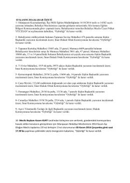 kasım 2014 meclis karar özetleri