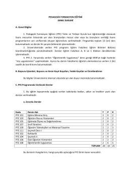 (PFE) Talim ve Terbiye Kurul - İnönü Üniversitesi Eğitim Fakültesi