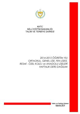 Ders Dağılım Çizelgesi - KKTC Milli Eğitim, Gençlik ve Spor Bakanlığı