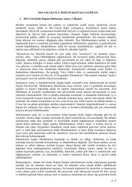 1 / 7 2014 YILI KUTLU DOĞUM HAFTASI TALİMATI I. 2014 Yılı Kutlu