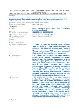 (2) - Tekirdağ Halk Sağlığı Müdürlüğü