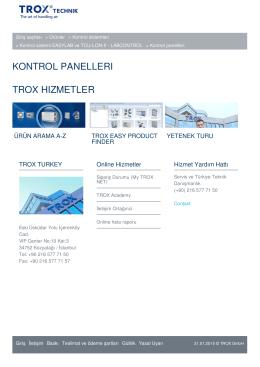 kontrol panellerı trox hızmetler