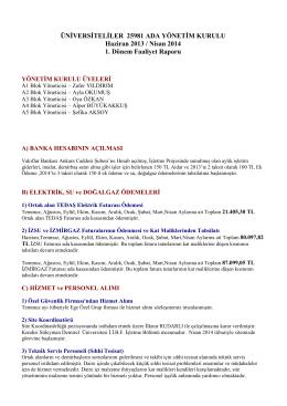 ÜNİVERSİTELİLER 25981 ADA YÖNETİM KURULU Haziran 2013