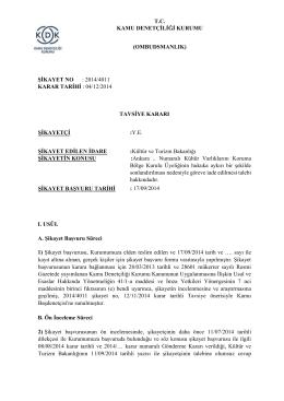 Dosya No: 2014/4011 - Kamu Denetçiliği Kurumu