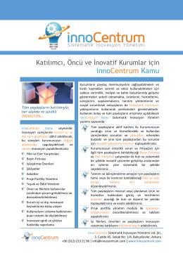innoCentrum Kamu - innoCentrum - Sistematik İnovasyon Yönetimi