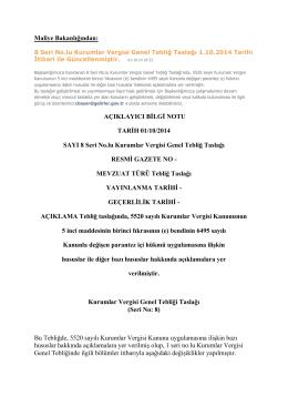 8 Seri No.lu Kurumlar Vergisi Genel Tebliğ TASLAĞI 1.10.2014