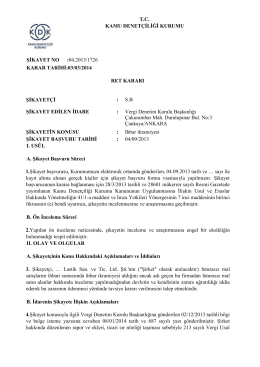 T.C. KAMU DENETÇİLİĞİ KURUMU ŞİKAYET NO :04.2013/1726