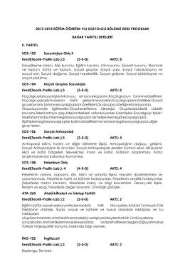 2013-2014 eğitim öğretim yılı sosyoloji bölümü ders programı
