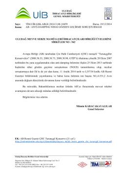 AB / ANTİ-DAMPİNG NİHAİ GÖZDEN GEÇİRME SORUŞTURMASI HK.